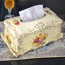 European-style luxury ivory porcelain tissue box creative vintage pumping paper box decorations household pumping tray