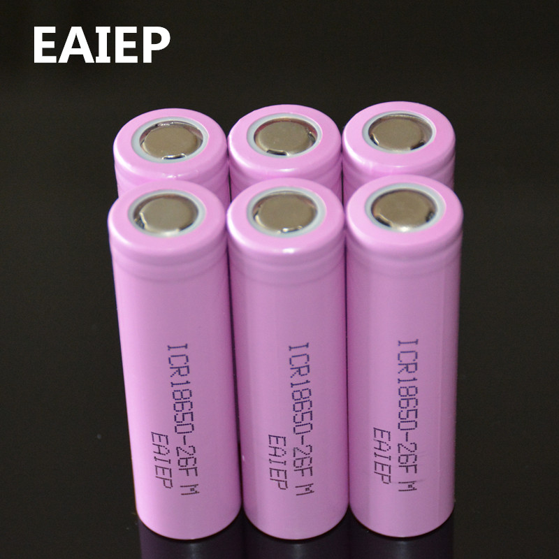 6PCS Original ICR18650 26F discharge lithium batteries, 100% 2600mAh electronic cigarette Power Battery, mobile power battery battery capacity tester resistance testing mobile power lithium lead acid battery can be 18650 serial line 20w