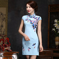 TIC-TEC chinese traditional dress women cheongsam short qipao vintage print elegant oriental dresses Classic silk clothes P3099