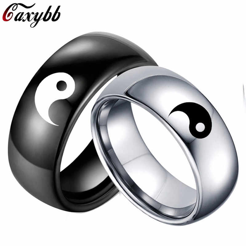 Fashion Chinese Style Black White Color Yin Yang Tai Chi Men Women Statement Couple Stainless Steel Ring