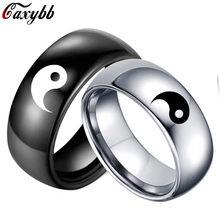 Moda estilo chinês preto branco cor yin yang tai chi masculino feminino declaração casal anel de aço inoxidável