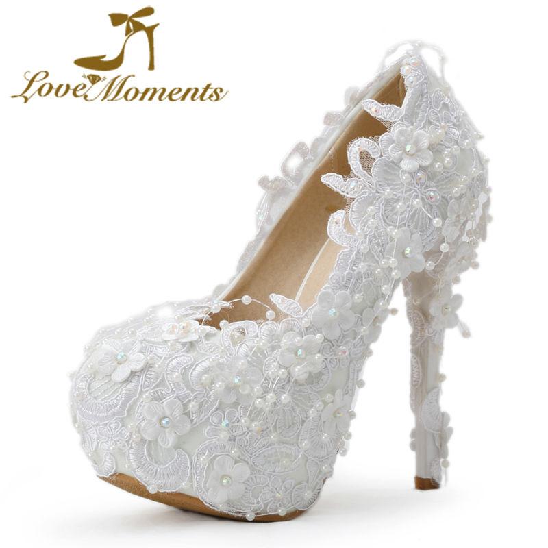 Love Moments schoenen vrouw Handgemaakt Wit Kant hoge hakken - Damesschoenen