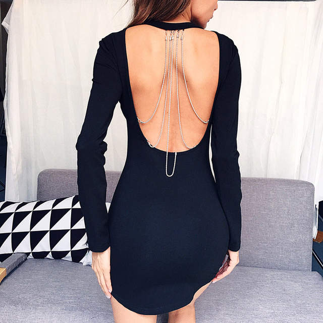 57c6cb82992c3 Autumn Ladies Sexy Chain Open Back Long Sleeve Party Cocktail Lace Mini  Dress