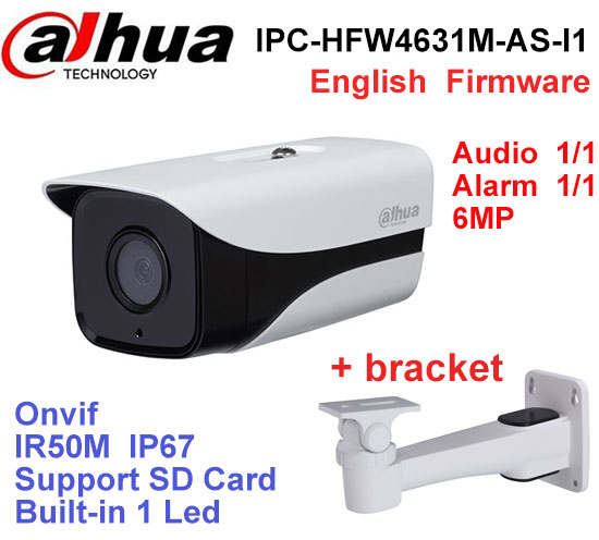 Dahua IPC-HFW4631M-AS-I1 6MP Stellar Camera built-in POE SD Card slot Audio Alarm interface IP67 IR50M outdoor IP Camera dahua ipc hfw4431k as i6 stellar camera 4mp poe sd card slot audio alarm interface ip67 ir150m bullet camera with bracket