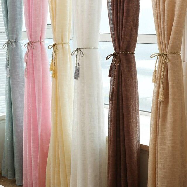5 couleur Lin rideaux Solide Tulle Fenêtre Rideaux pour Porte De La ...