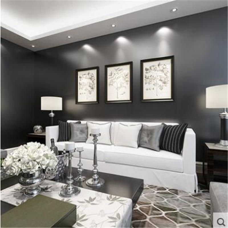 beibehang pure plain black wallpaper bedroom living room wallpaper nonw ovens TV background wall paper silk papel de parede nonw