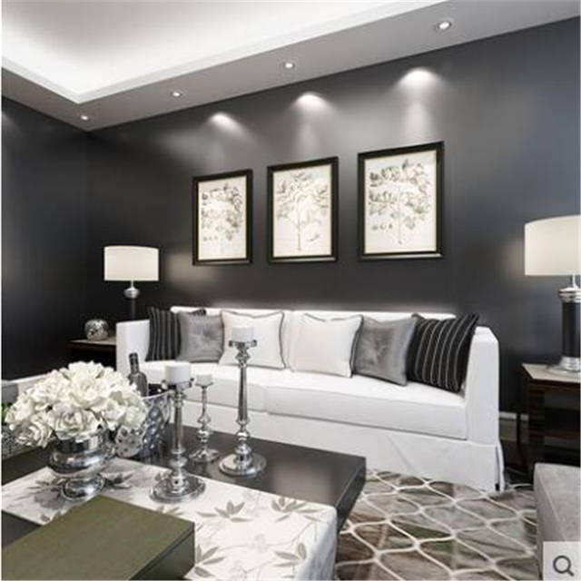 US $35.5 29% OFF|beibehang pure plain black wallpaper bedroom living room  wallpaper nonw ovens TV background wall paper silk papel de parede-in ...