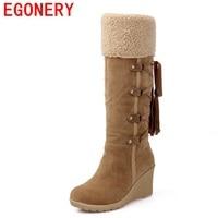 2016 Hot Sale Botas Femininas Women Winter Boots 7cm High Heels Knee High Boots Lady Shoes