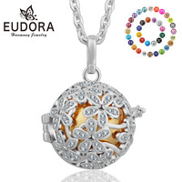 Eudora 20mm Harmony Ball Pendant Necklace Silver Cage Locket Ball Pendant Baby & Mother Mexcain Bola Music Maternity jewelry