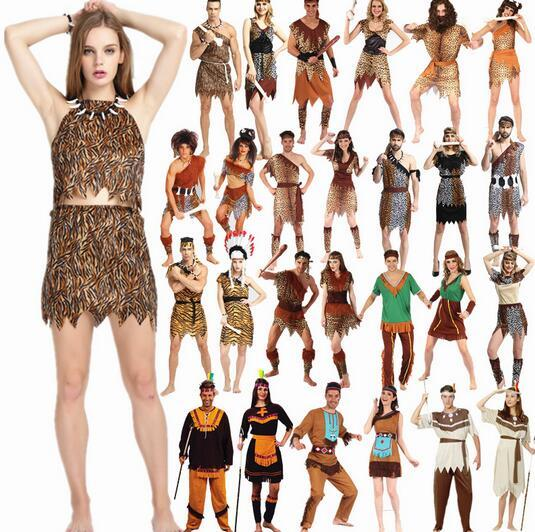 57d07efc7 2016 Hot Indian Tribal Primitive Savage Leopard Print Costume Africa Native  Hunter Clothes Adult Men Halloween Cosplay Costume -in Anime Costumes from  ...