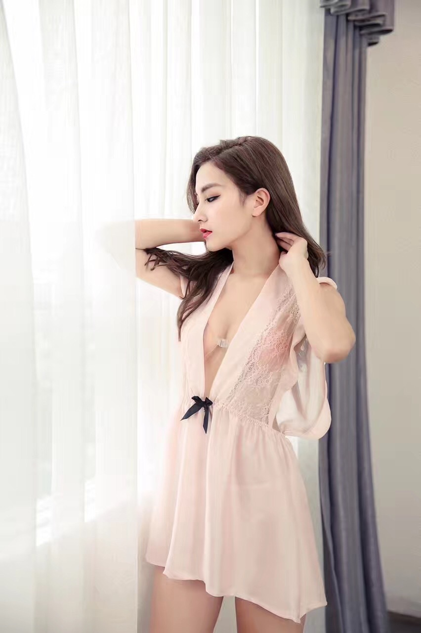 Silk Lace Women Sleepwear Ladies Sleepdress Babydoll Nightdress Nightgown Sleepshirts Homewear