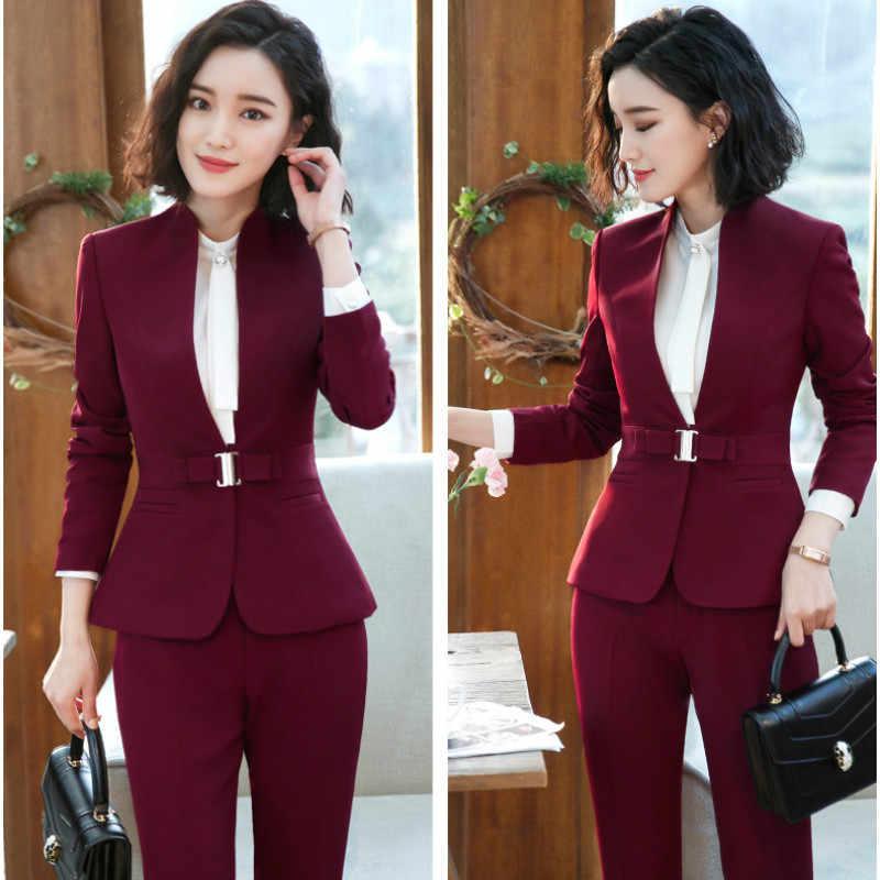 Office Lady Werk Broek Past Vrouwen Formeel Pak 2 Stuks Set Blazer Broek Elegante Jas Broek Herfst Vrouwelijke Outfits