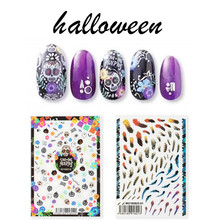 Newest MGM-020 halloween pattern 3D nail sticker Japan style decals back glue DIY decoration for art