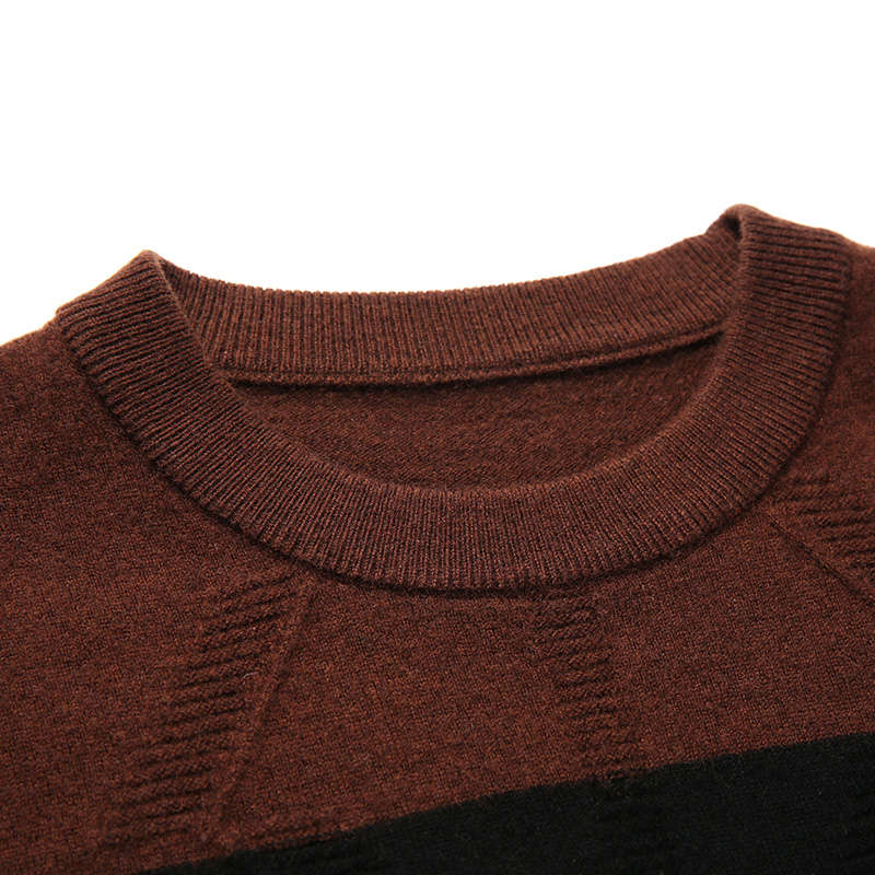 c0947cefe288 Casual Épais Hommes Pull Green Coffee Rayé Macrosea Chandails Vêtements  8052 Patchwork De Laine 100 Dark ...
