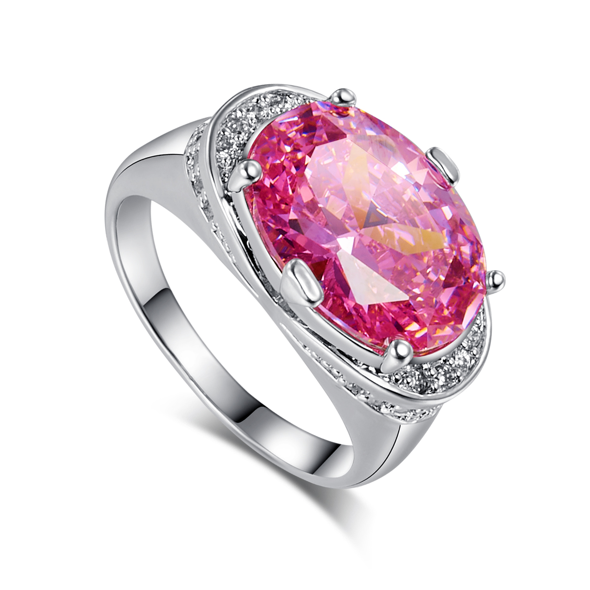 First Love Baby Pink CZ Stone Finger Rings For Women Silver Fashion ...