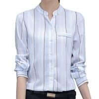 Autumn Spring Lady Fashion Chiffon Blouses Plus Size S 3XL Brand New Long Sleeve Women Striped