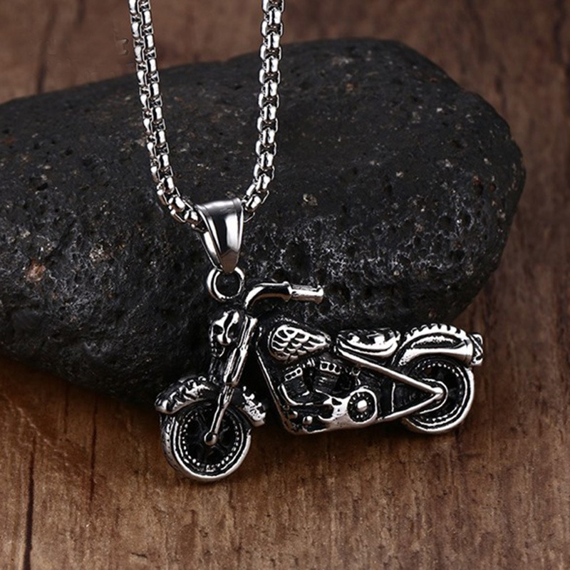 Man's Vintage Gothic Ghost Rider Pendants Stainless Steel Motorcycle motor bike Pendant Necklace