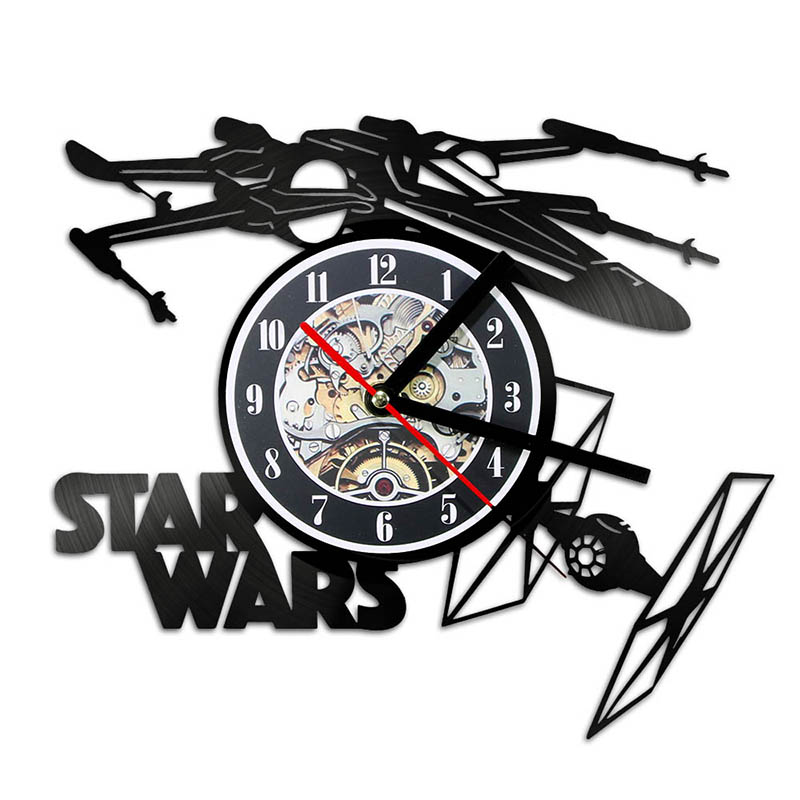 Creative 3D LED Record Clock Star Wars Theme Airplane Model Hollow Wall Clock Vinyl Record Material Antique Style Hanging Clock
