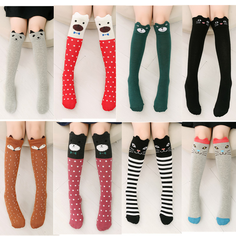 5a22df32271 Spring Autumn Children Socks Cotton 3D Printing Cat Kids Girls High Knee  Socks Fashion Cartoon Bear