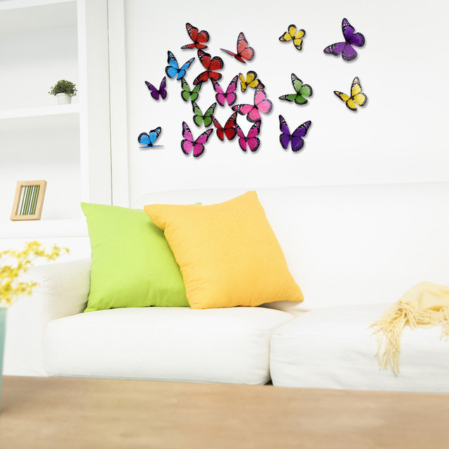 18Pcs Glowing 3D Beautifully Butterfly Sticker Home Decoration PVC ...