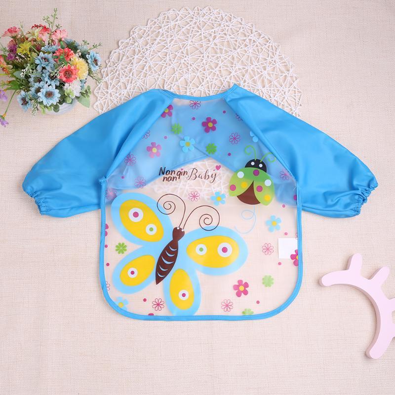Lovely Cartoon Baby Feeding Long Sleeve Art Apron Animal Bibs Waterproof Unisex Burp Clothes Eat Toddler Waterproof Baberos