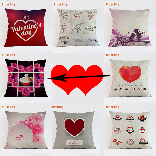 Us 5 95 30 Off Valentine S Day Heart Shaped Happy Letter 2018 New Year Gift Cushion Decorative Pillows Linen 45x45 55x55cm Pillowcases Almofada In