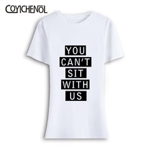 You cant sit with us oversize customize 5xl short sleeves kawaii tshirt woman plus size top solid color o-neck cute