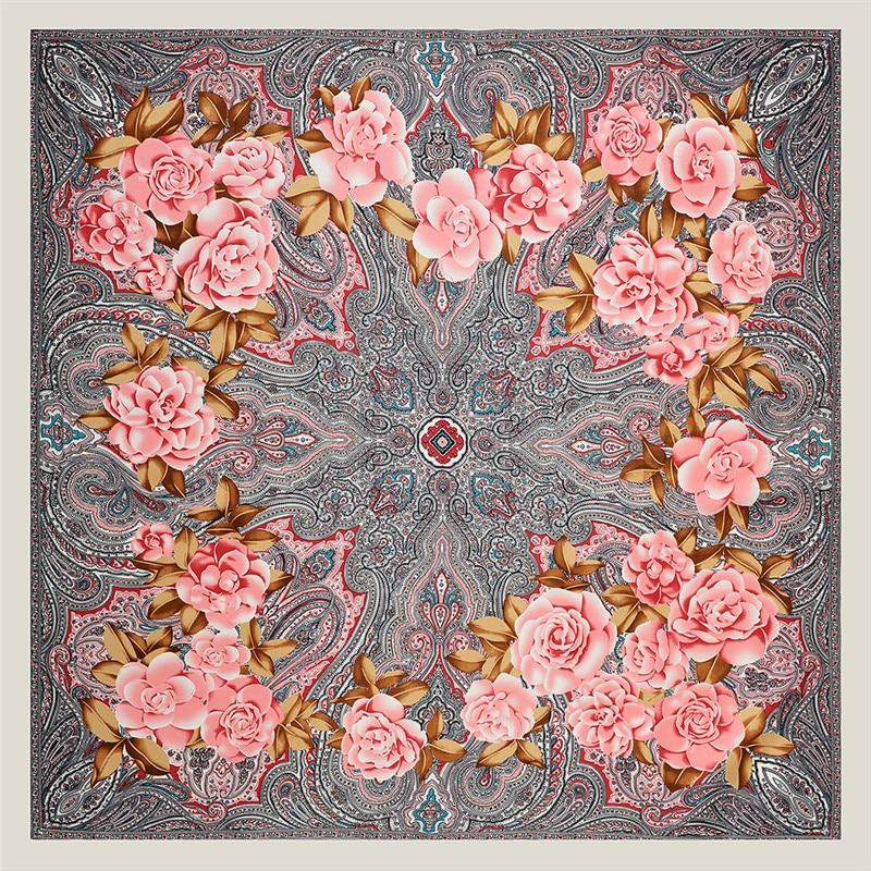 POBING 100% Silk   Scarf   Luxury Brand Cashew Floral Neckerchief Headscarf Square   Scarves   Lady Foulard Female Bandana 100*100CM