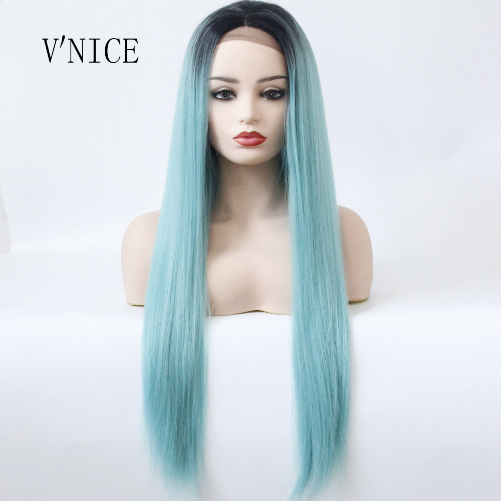 Ombre Black to Light Blue Long Straight Wig Heat Resistant Fiber Women Dark Root Ombre P ...
