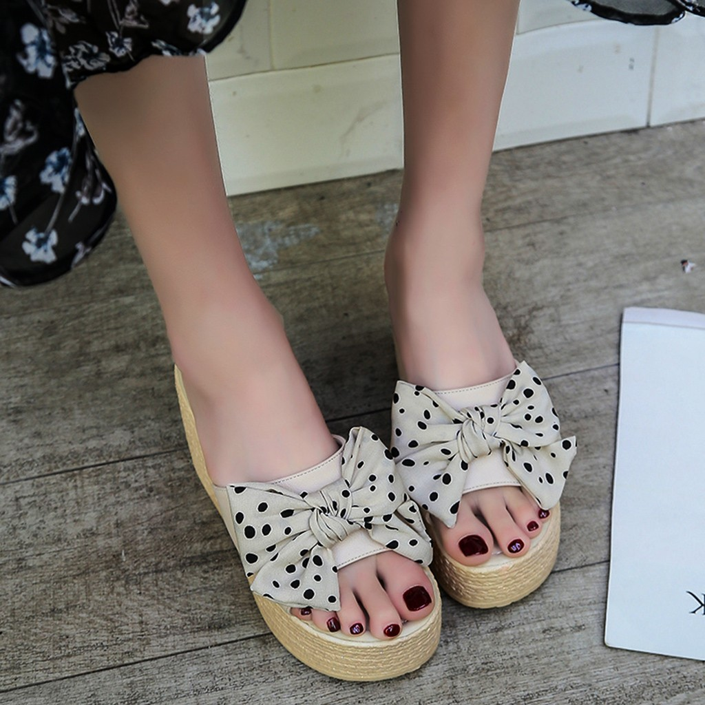 Sandal Shoes Polka-Dot Platform Wedges Holiday-Slipper Womenladies Peep-Toe Beach Elegant