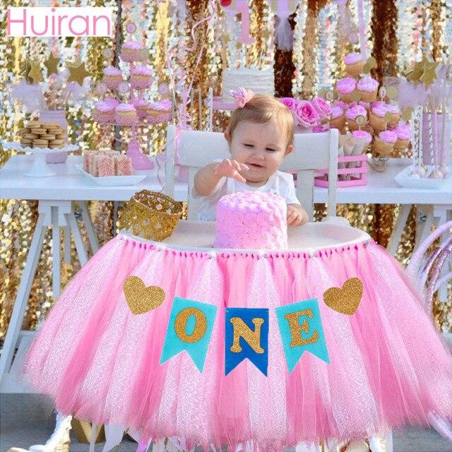 Huiran Kids Happy Birthday Banner 1 Year Party Decor 1st Supplies First Boy Girl Baby Shower