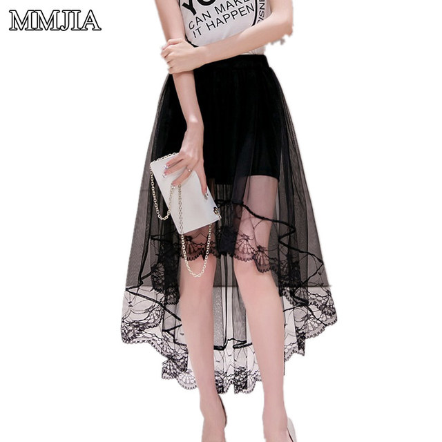 Sexy Women Chiffon Long Skirts Women Plus Size Lace Mesh Skirt New 2018  Fashion Summer Style Tulle Black and White Long Skirt ddfd9690f6df