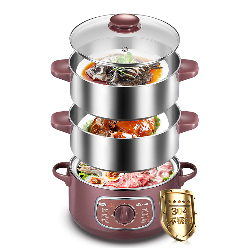 X63 10L 3layer food steamer Electric Hot Pot Cooker 304 stainless steel facial steamer Rotary timing Multilayer Free combination bear dzg 305 electric steamer multilayer electric steamer multifunction three layers microcomputer appointment timing