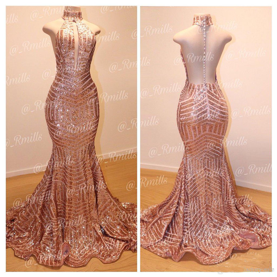 Bling Bling Rose Gold Mermaid Prom Dresses Sexy Backless High Jewel Neck Backless Formal Dress Evening Gowns Cheap robe vestidos