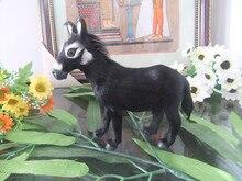 simulation donkey 15x14cm toy polyethylene&furs black donkey model ,home decoration gift t271