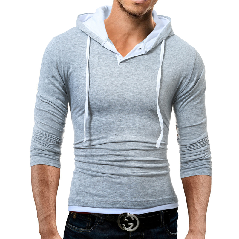 Long Sleeve T Shirt Men Cotton Slim Fit T-Shirt Man Hooded Solid Color tee shirt homme tshirt men casual summer tops 2018 brand