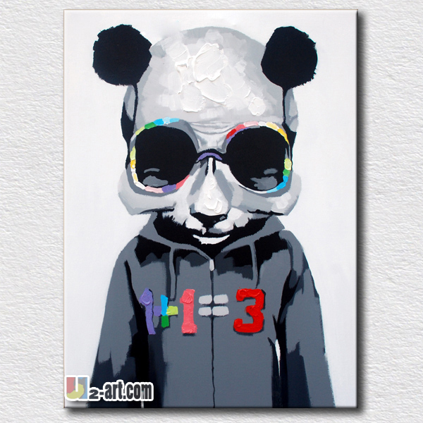 Black Oil Painting Cool Panda Wall Arts For Kids Bedroom Wall Decoration  Picture High Quality Gift