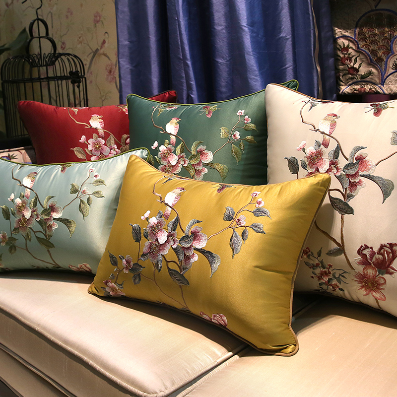 Modern Elegant Embroidery Birds and flowers Cushion Cover