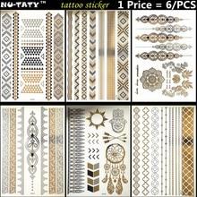 Nu-Taty 6PCS / серыя Gold Chain Temporary 3D макіяж татуіроўкі хной Tatuagem Body Art татуіроўкі флэш налепкі Купальнік інструмент макіяжу