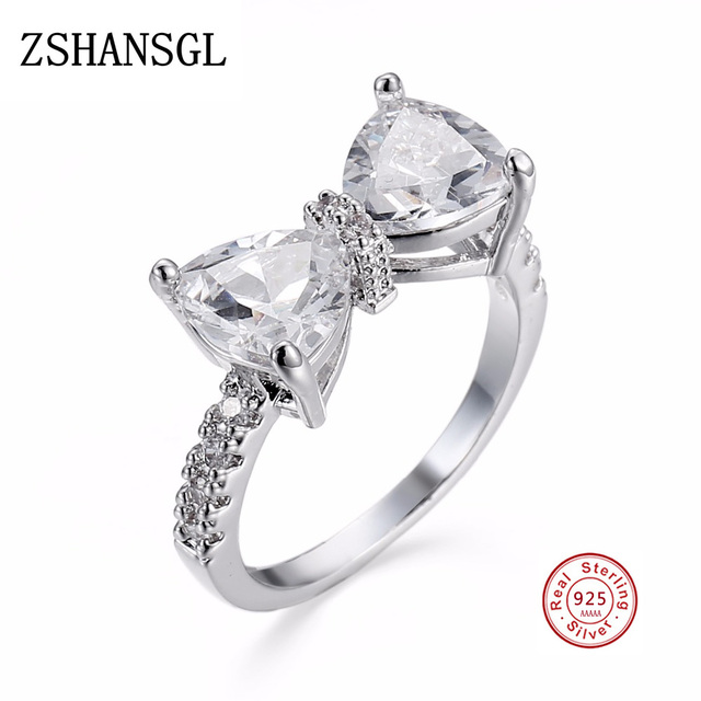New Arrive Lovely Bowknot Design Female 925 Sterling-Silver-Jewelry Ring with Mi