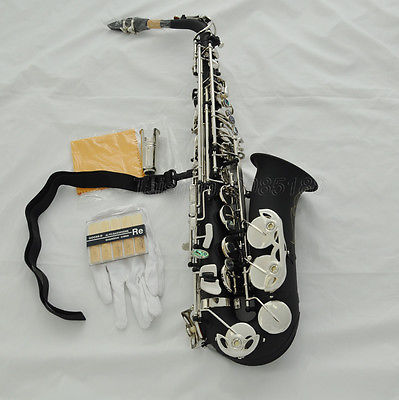 Customize Black Nickel Eb Alto Saxophone Abalone Button Silver Key Play Jazz Music