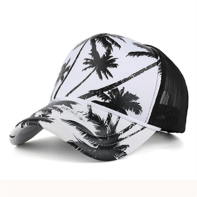 NewBeautiful Cheap Women Men Coconut Tree Printing Baseball Cap Snapback  Hip Hop Flat Hat summer hats for women casquette homme c6a61be2211