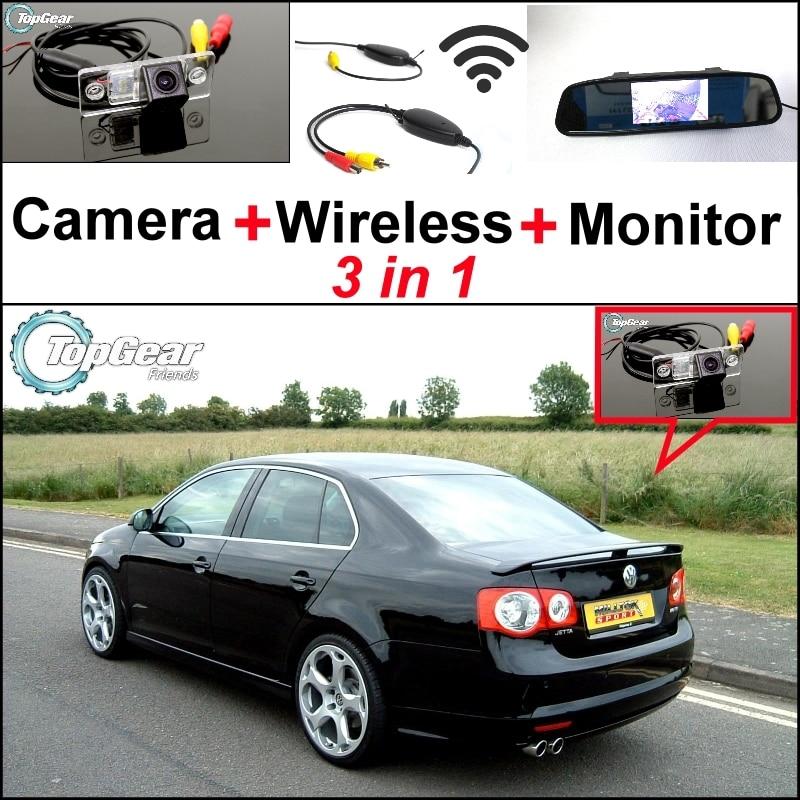 ФОТО 3 in1 Special Camera + Wireless Receiver + Mirror Monitor Easy Parking System For Volkswagen VW Bora Jetta GLi Sagitar Vento A5