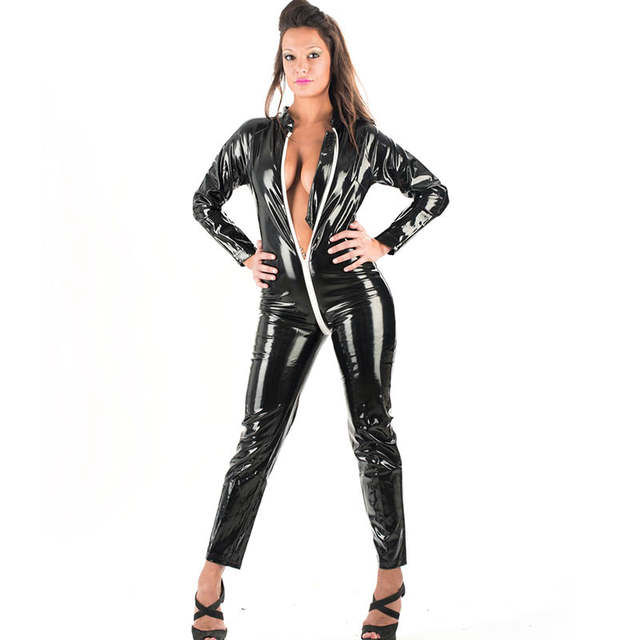 84848f60f8 placeholder Sexy Catsuit Long Sleeve Vinyl Leather Jumpsuit For Women Full  Bodysuit Black One Piece Hollow Out