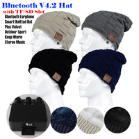 Insert TF SD Slot Outdoor Sport Wireless Bluetooth Earphone Hat Stereo Magic Music Headband Cap Headphone