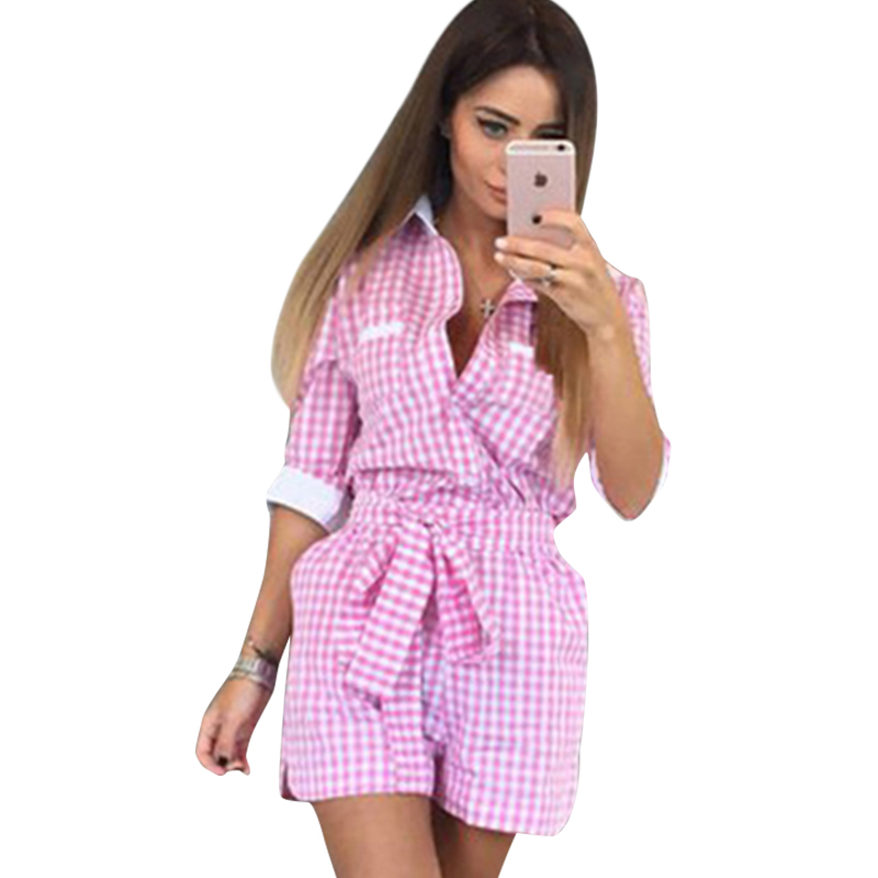 Romper Women Jumpwuit Women Clothes 2016 Autumn Summer Jumper font b Tartan b font Plaid Turn