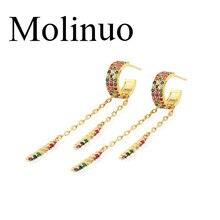 Molinuo delicate fashion circle hoop Color cz tassel earring gorgeous jewelry colorful cz multi pierced hoop earrings 2019 цена 2017