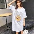 Misslymi plus size mulheres t-shirt dress 2017 verão casual o pescoço curto manga solta impressão leão dos desenhos animados carta rosa na altura do joelho vestidos