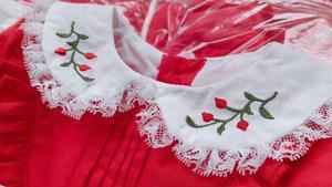 Image 3 - 1 6Y תינוק בנות אדום בציר ספרדית Pompom שמלת שמלת תחרה לוליטה שמלת נסיכת שמלת בנות חג המולד מסיבת יום הולדת שמלה