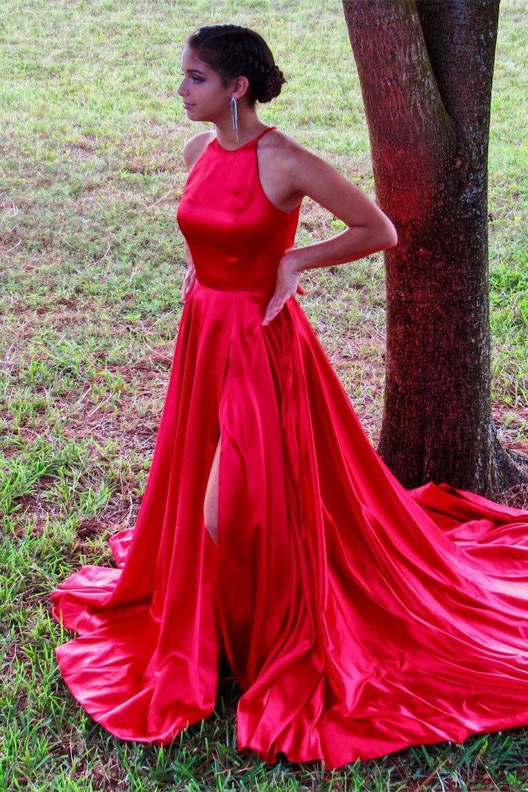 Robe De Soiree Halter Evening Dress Long 2019 Satin Side Slit Formal Party Gowns Vestido De Festa Longo Abiye Gece Elbisesi